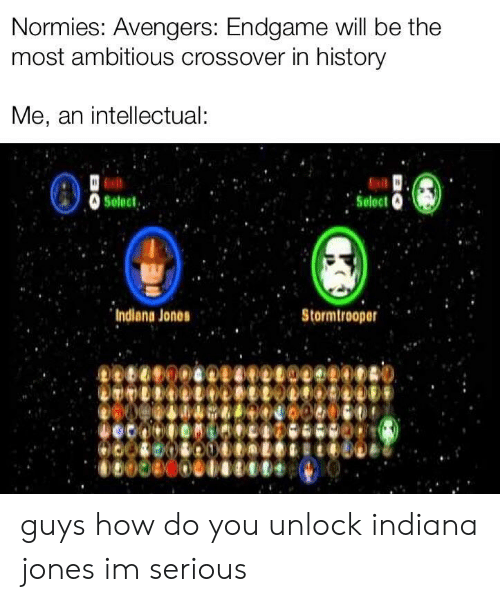 Stormtrooper: Normies: Avengers: Endgame will be the  most ambitious crossover in history  Me, an intellectual:  Indiana Jones  Stormtrooper guys how do you unlock indiana jones im serious