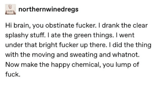 drank: northernwinedregs  Hi brain, you obstinate fucker. I drank the clear  splashy stuff. I ate the green things. I went  under that bright fucker up there. I did the thing  with the moving and sweating and whatnot.  Now make the happy chemical, you lump of  fuck