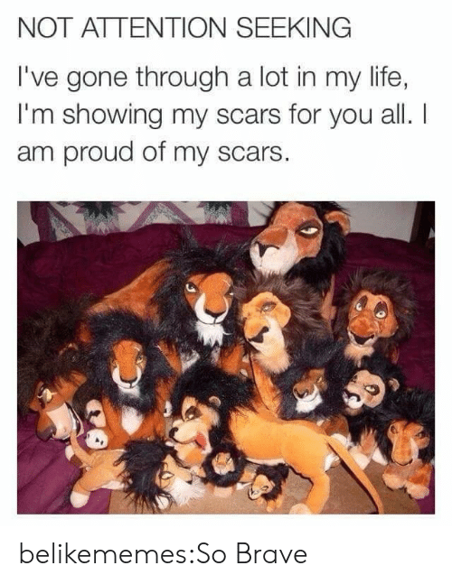 Attention Seeking: NOT ATTENTION SEEKING  I've gone through a lot in my life,  I'm showing my scars for you all. I  am proud of my scars  CE belikememes:So Brave