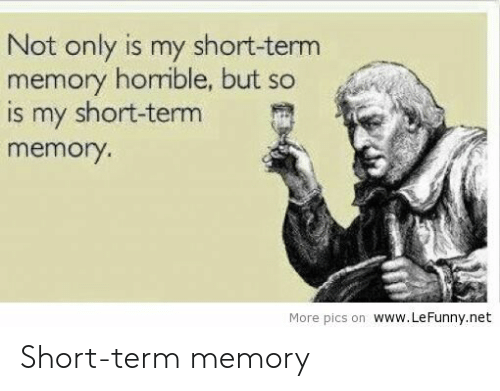 Short Term: Not only is my short-term  memory horible, but so  is my short-term  memory.  More pics on www.LeFunny.net Short-term memory