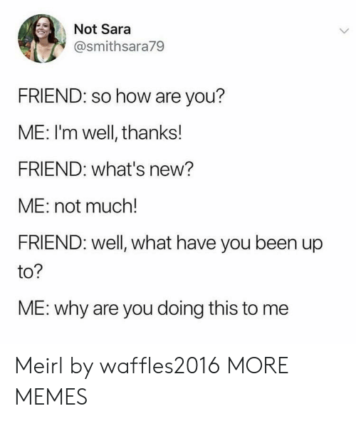 Well Thanks: Not Sara  @smithsara79  FRIEND: so how are you?  ME: I'm well, thanks!  FRIEND: what's new?  ME: not much!  FRIEND: well, what have you been up  to?  ME: why are you doing this to me Meirl by waffles2016 MORE MEMES