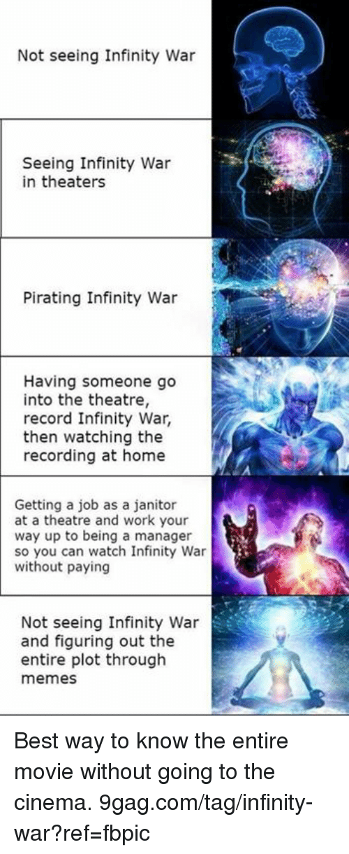 Pirating: Not seeing Infinity War  Seeing Infinity War  in theaters  Pirating Infinity War  Having someone go  into the theatre,  record Infinity War,  then watching the  recording at home  Getting a job as a janitor  at a theatre and work your  way up to being a manager  so you can watch Infinity War  without paying  Not seeing Infinity War  and figuring out the  entire plot through  memes Best way to know the entire movie without going to the cinema. 9gag.com/tag/infinity-war?ref=fbpic