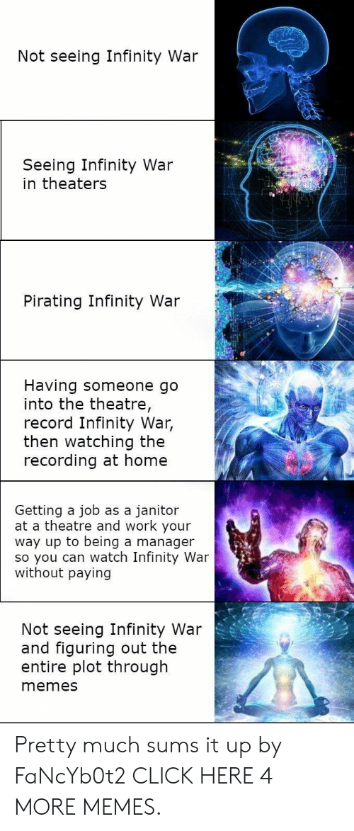 Pirating: Not seeing Infinity War  Seeing Infinity War  in theaters  Pirating Infinity War  Having someone go  into the theatre,  record Infinity War,  then watching the  recording at home  Getting a job as a janitor  at a theatre and work your  way up to being a manager  so you can watch Infinity War  without paying  Not seeing Infinity War  and figuring out the  entire plot through  memes Pretty much sums it up by FaNcYb0t2 CLICK HERE 4 MORE MEMES.