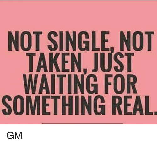 Not Single: NOT SINGLE, NOT  TAKEN, JUST  WAITING FOR  SOMETHING REAL GM