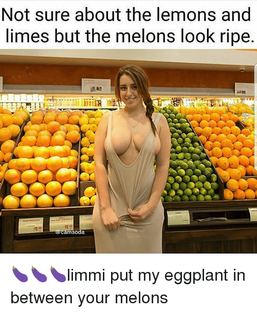 Memes, 🤖, and Eggplant: Not sure about the lemons and  limes but the melons look ripe  msoda 🍆🍆🍆limmi put my eggplant in between your melons