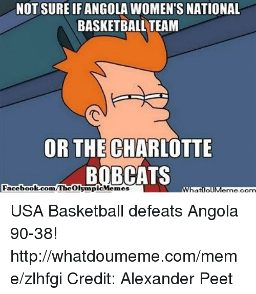 usa basketball: NOT SURE IFANGOLA WOMEN'S NATIONAL  BASKETBALL TEAM  OR THE CHARLOTTE  BOBCATS  Facebook.com  /The What ollM USA Basketball defeats Angola 90-38!  http://whatdoumeme.com/meme/zlhfgi Credit: Alexander Peet