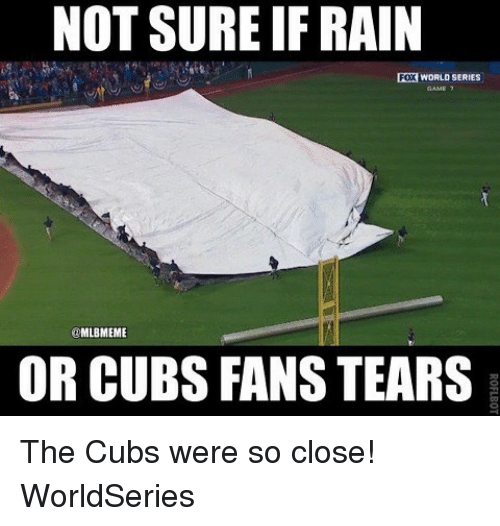 Cubs Fans: NOT SURE IFRAIN  FOX WORLD SERIES  @MLBMEME  OR CUBS FANS TEARS The Cubs were so close! WorldSeries