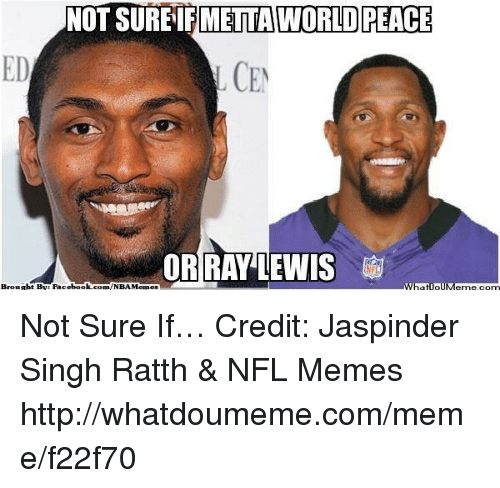 Ray Lewis: NOT SUREIFMETTAWORLD PEACE  ED  L CEN  OR RAY LEWIS  What loll  Brouabt BN: Facebook  com/NBA Memes Not Sure If… Credit: Jaspinder Singh Ratth & NFL Memes  http://whatdoumeme.com/meme/f22f70