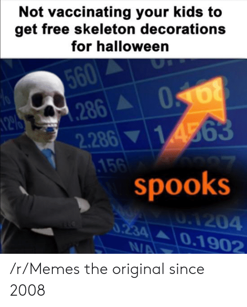 skeleton: Not vaccinating your kids to  get free skeleton decorations  for halloween  560  286A  2.286 14563  .156  spooks  70  0.1204  0.234 0.1902  N/A /r/Memes the original since 2008