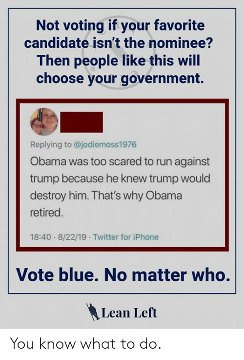 Iphone, Lean, and Obama: Not voting if your favorite  candidate isn't the nominee?  Then people like this will  choose your government.  Replying to @jodiemoss1976  Obama was too scared to run against  trump because he knew trump would  destroy him. That's why Obama  retired.  18:40 8/22/19 Twitter for iPhone  Vote blue. No matter who.  Lean Left You know what to do.