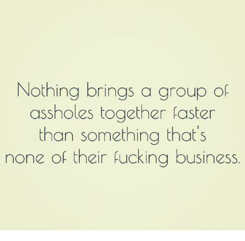 Assholism: Nothing brings a group of  assholes together faster  than something that's  none of their fucking business