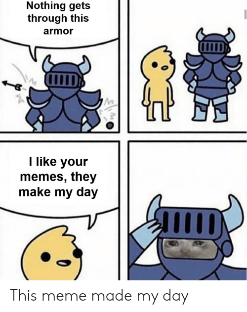 Made My: Nothing gets  through this  armor  I like your  memes, they  make my day This meme made my day