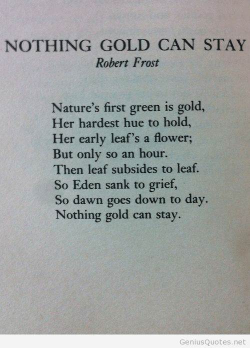 leafs: NOTHING GOLD CAN STAY  Robert Frost  Nature's first green is gold,  Her hardest hue to hold  Her early leaf's a flower;  But only so an hour.  Then leaf subsides to leaf.  So Eden sank to grief,  So dawn goes down to day  Nothing gold can stay.  GeniusQuotes.net