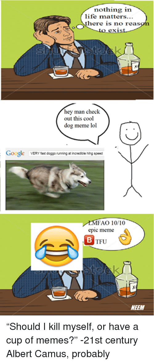 """Dog Meme: nothing in  life matters...  OOS  here is no reas  hey man check  out this cool  dog meme lol  Google  VERY fast  doggo running at incredible hihg speed  MFAO 10/10  epic meme  TFU  NEEM """"Should I kill myself, or have a cup of memes?""""  -21st century Albert Camus, probably"""