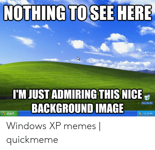 Windows Xp Meme: NOTHING TO SEE HERE  I'M JUST ADMIRING THIS NICE  BACKGROUND IMAGE  Recycle Bin  11:20 AM  quickmeme.com  start Windows XP memes | quickmeme