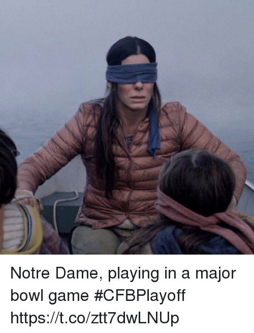 Sports, Game, and Notre Dame: Notre Dame, playing in a major bowl game #CFBPlayoff https://t.co/ztt7dwLNUp