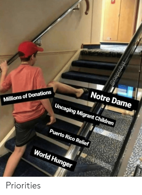 Children, Notre Dame, and Puerto Rico: Notre Dame  Uncaging Migrant Children  Millions of Donations  Puerto Rico Relief  World Hunger  @neprobst Priorities