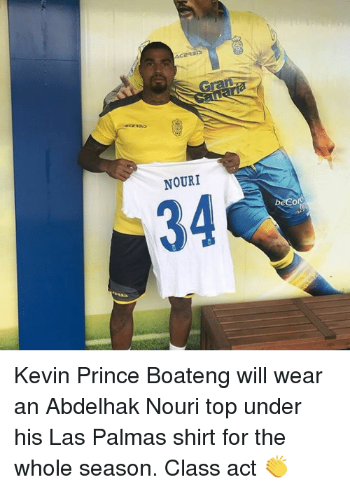 Kevin-Prince Boateng: NOURI  34 Kevin Prince Boateng will wear an Abdelhak Nouri top under his Las Palmas shirt for the whole season. Class act 👏