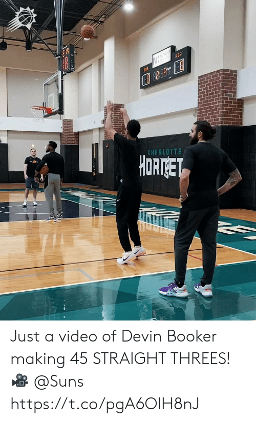 suns: NOVANT  GUEST  AME  CHARLOTTE  HORTGET Just a video of Devin Booker making 45 STRAIGHT THREES!   🎥 @Suns https://t.co/pgA6OIH8nJ