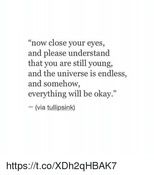 "Understandment: now close your eyes,  and please understand  that you are still young,  and the universe is endless,  and somehow,  everything will be okay.""  (via tullipsink) https://t.co/XDh2qHBAK7"