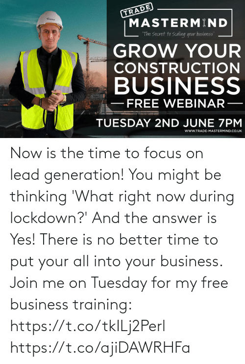 join.me: Now is the time to focus on lead generation!   You might be thinking 'What right now during lockdown?' And the answer is Yes!   There is no better time to put your all into your business. Join me on Tuesday for my free business training: https://t.co/tkILj2Perl https://t.co/ajiDAWRHFa