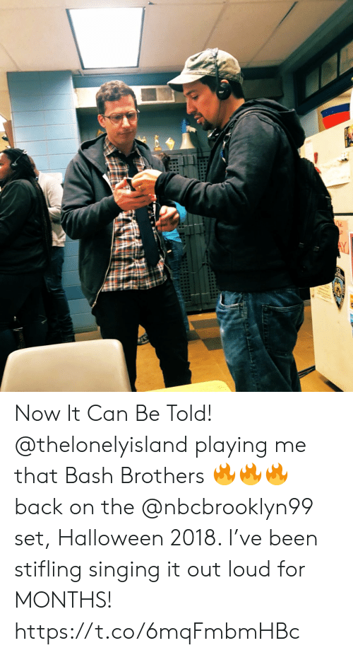 Halloween, Memes, and Singing: Now It Can Be Told! @thelonelyisland  playing me that Bash Brothers 🔥🔥🔥 back on the @nbcbrooklyn99 set, Halloween 2018. I've been stifling singing it out loud for MONTHS! https://t.co/6mqFmbmHBc