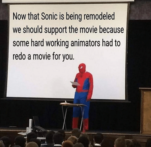 Memes, Movie, and Sonic: Now that Sonic is being remodeled  we should support the movie because  some hard working animators had to  redo a movie for you.
