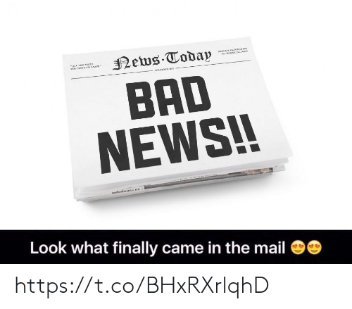 """Bad, News, and Mail: NS  """"ALL. THE  YOU NEED TO  FOUNDED 78  BAD  NEWS!!  Look what finally came in the mail https://t.co/BHxRXrlqhD"""