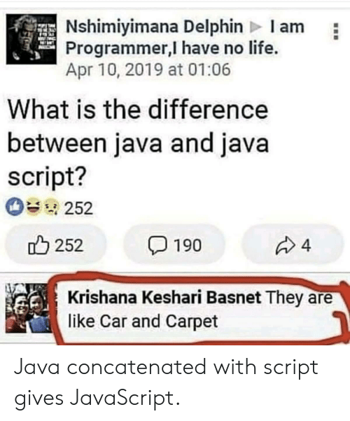 script: Nshimiyimana Delphin Iam  Programmer,I have no life.  Apr 10, 2019 at 01:06  What is the difference  between java and java  script?  252  252  4  190  Krishana Keshari Basnet They  like Car and Carpet Java concatenated with script gives JavaScript.