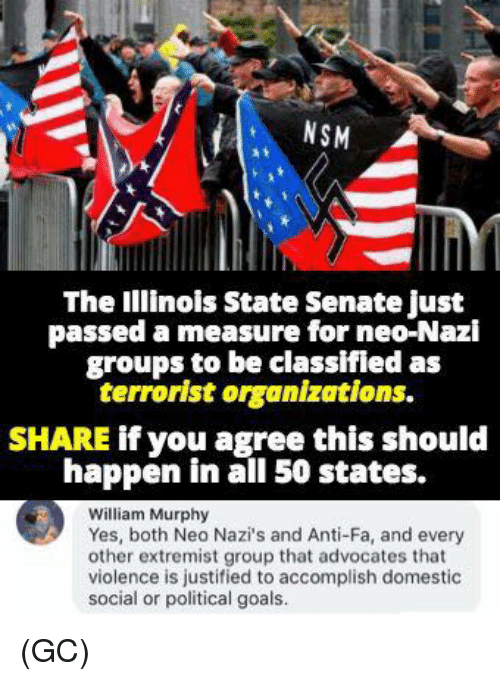 Få«: NSM  The Illinois State Senate just  passed a measure for neo-Nazi  groups to be classifled as  terrorist organizations.  SHARE if you agree this should  happen in all 50 states.  William Murphy  Yes, both Neo Nazi's and Anti-Fa, and every  other extremist group that advocates that  violence is justified to accomplish domestic  social or political goals. (GC)