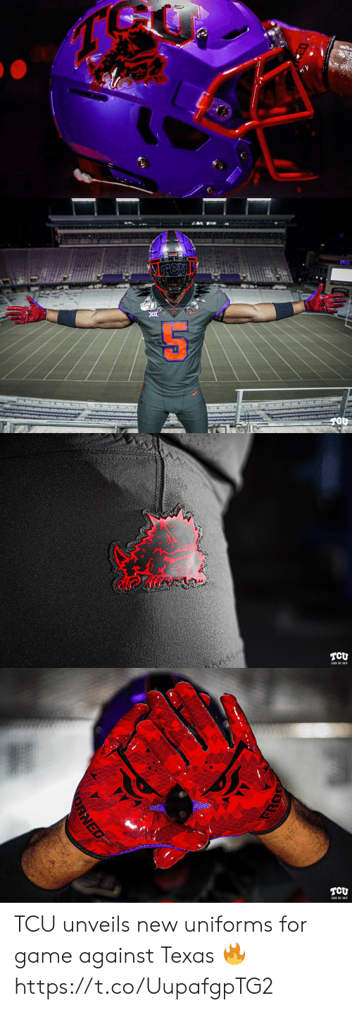 ear: NTCU  EAR THE HIP   TCU  EAR THE CHIP   TCU  EARI THE CHIP  RNED TCU unveils new uniforms for game against Texas 🔥 https://t.co/UupafgpTG2