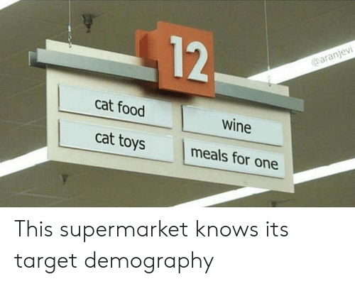 cat food: NV  12  cat food  Wine  cat toys meals for one This supermarket knows its target demography