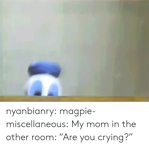 "magpie: nyanbianry: magpie-miscellaneous:  My mom in the other room: ""Are you crying?"""