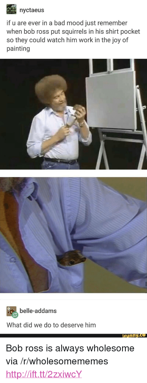 """Addams: nyctaeus  if u are ever in a bad mood just remember  when bob ross put squirrels in his shirt pocket  so they could watch him work in the joy of  painting  belle-addams  What did we do to deserve him  ifunny.ce <p>Bob ross is always wholesome via /r/wholesomememes <a href=""""http://ift.tt/2zxiwcY"""">http://ift.tt/2zxiwcY</a></p>"""
