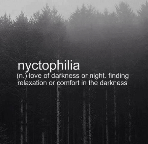 comfort: nyctophilia  (n.) love of darkness or night. finding  relaxation or comfort in the darkness