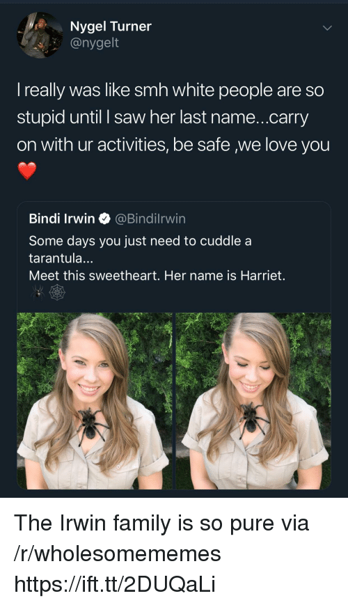 White People Are: Nygel Turner  @nygelt  I really was like smh white people are so  stupid until I saw her last name...carry  on with ur activities, be safe we love you  Bindi Irwin@Bindilrwin  Some days you just need to cuddle a  tarantula...  Meet this sweetheart. Her name is Harriet. The Irwin family is so pure via /r/wholesomememes https://ift.tt/2DUQaLi