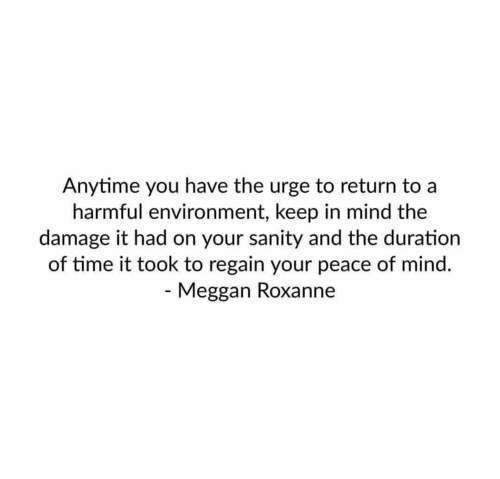 peace of mind: nytime you have the urge to return to a  harmful environment, keep in mind the  damage it had on your sanity and the duration  of time it took to regain your peace of mind.  Meggan Roxanne