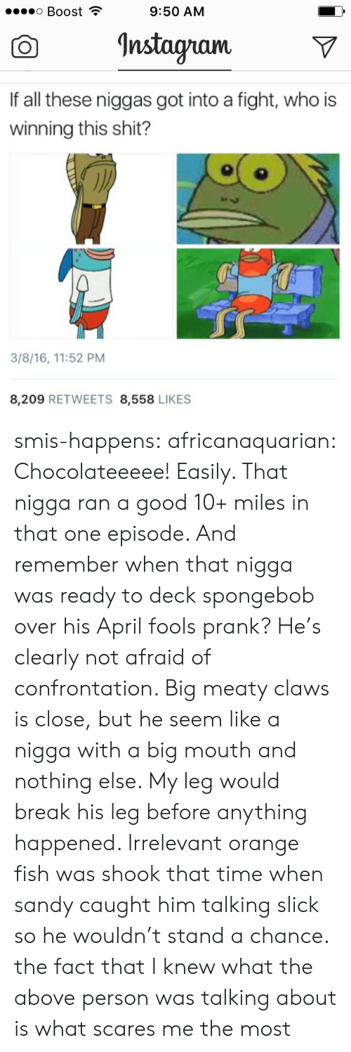 Prank, Slick, and SpongeBob: ..o Boost ?  9:50 AM  O InstagramV  If all these niggas got into a fight, who is  winning this shit?  3/8/16, 11:52 PM  8,209 RETWEETS 8,558 LIKES smis-happens: africanaquarian: Chocolateeeee! Easily. That nigga ran a good 10+ miles in that one episode. And remember when that nigga was ready to deck spongebob over his April fools prank? He's clearly not afraid of confrontation. Big meaty claws is close, but he seem like a nigga with a big mouth and nothing else. My leg would break his leg before anything happened. Irrelevant orange fish was shook that time when sandy caught him talking slick so he wouldn't stand a chance. the fact that I knew what the above person was talking about is what scares me the most
