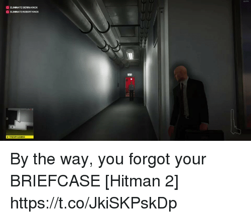 Hitman, Sierra, and You: O ELIMINATE SIERRA KNOX  O ELIMINATE ROBERT KNOX  TRESPASSING By the way, you forgot your BRIEFCASE [Hitman 2] https://t.co/JkiSKPskDp