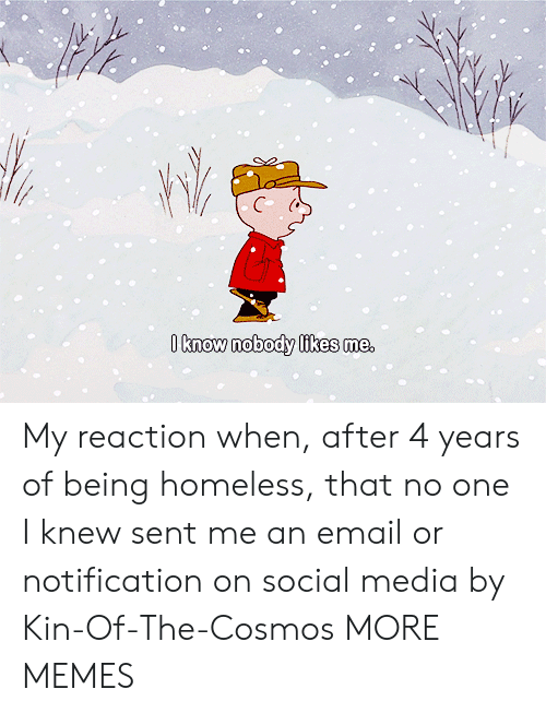 Likes Me: O know nobody likes me, My reaction when, after 4 years of being homeless, that no one I knew sent me an email or notification on social media by Kin-Of-The-Cosmos MORE MEMES