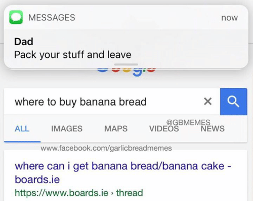 Banana Bread: O MESSAGES  nOW  Dad  Pack your stuff and leave  where to buy banana bread  @GBMEMES  MAPS  VIDEOS  ALL IMAGES  NEWS  www.facebook.com/garlicbreadmemes  where can i get banana bread, banana cake  boards.ie  https://www.boards.ie thread