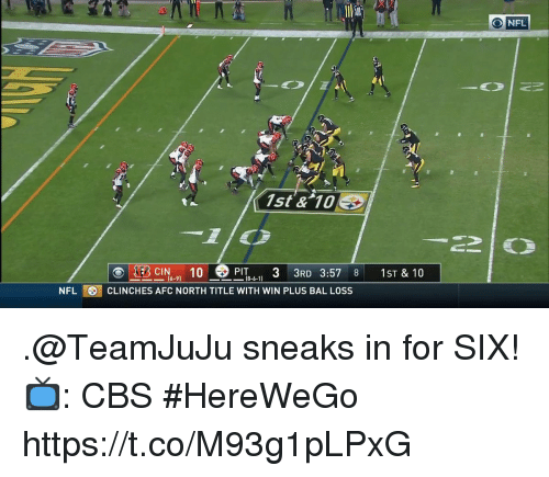 Memes, Nfl, and Cbs: O NFL  1st & 10E  PIT 33RD 3:57 8 1ST & 10  (6-9)  NFLCLINCHES AFC NORTH TITLE WITH WIN PLUS BAL LOSS .@TeamJuJu sneaks in for SIX!  📺: CBS #HereWeGo https://t.co/M93g1pLPxG