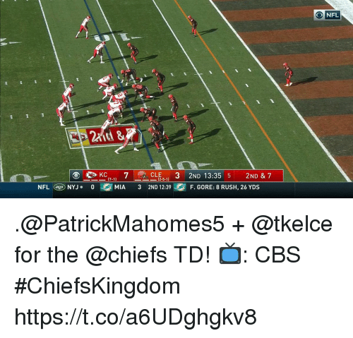 gore: O NFL  at &  CLE-  2ND 13:35 5 2ND & 7  (2.5.1)  NFLNYJ.0M  MIA 3 2ND 12:39F. GORE: 8 RUSH, 26 YDS .@PatrickMahomes5 + @tkelce for the @chiefs TD!  📺: CBS #ChiefsKingdom https://t.co/a6UDghgkv8