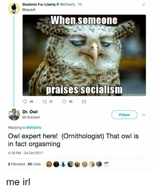 orgasming: O)  Students For Liberty @sfliberty 1h  Bruuuuh  When someone  praises socialism  64 t255  Dr. Owl  @USdotard  Follow  Replying to @sfliberty  Owl expert here! (Ornithologist) That owl is  in fact orgasming  4:18 PM -24 Oct 2017  2 Retweets 53 Likes me irl