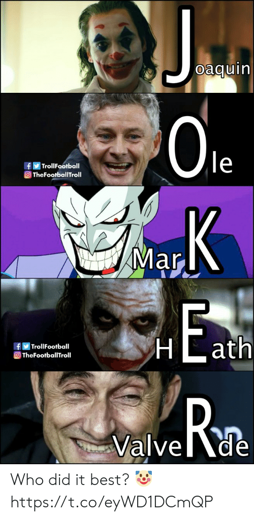Memes, Best, and 🤖: oaquin  0le  fTrollFootball  TheFootballTroll  Mar  TrollFootball  OTheFootballTroll  Rn  Valvede Who did it best? 🤡 https://t.co/eyWD1DCmQP