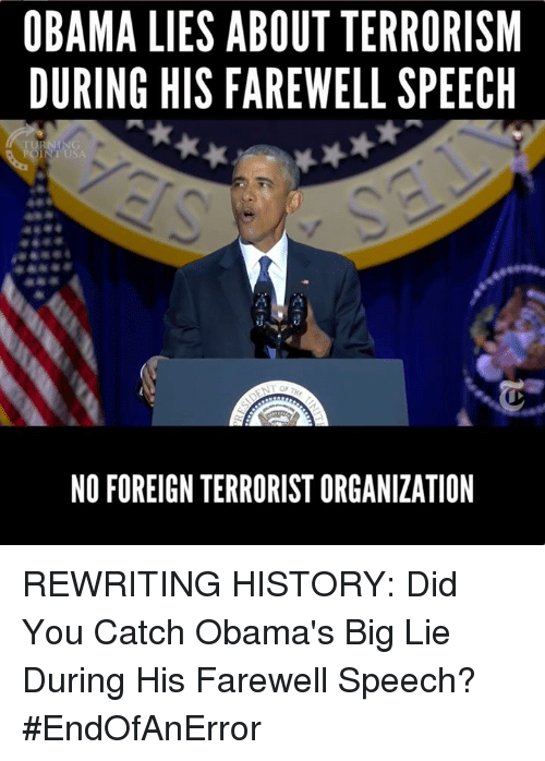 obama lies about terrorism during his farewell speech no foreign 11595342 ✅ 25 best memes about farewell farewell memes