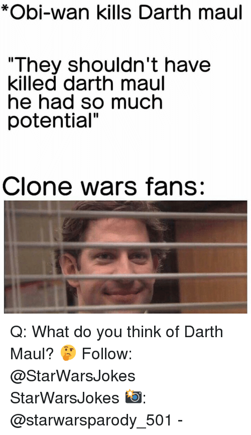 """Memes, 🤖, and Clone Wars: *Obi-wan kills Darth maul  """"They shouldn't have  killed darth maul  he had so much  potential""""  Clone wars fans: Q: What do you think of Darth Maul? 🤔 Follow: @StarWarsJokes StarWarsJokes 📸: @starwarsparody_501 -"""