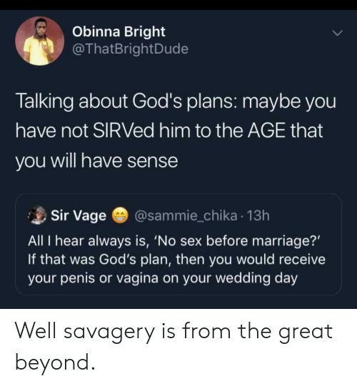 Blackpeopletwitter, Funny, and Marriage: Obinna Bright  @ThatBrightDude  Talking about God's plans: maybe you  have not SIRVed him to the AGE that  you will have sense  Sir Vage  @sammie_chika 13h  All I hear always is, 'No sex before marriage?'  If that was God's plan, then you would receive  your penis or vagina on your wedding day Well savagery is from the great beyond.