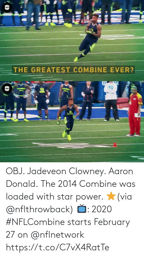 february: OBJ. Jadeveon Clowney. Aaron Donald.  The 2014 Combine was loaded with star power. ⭐️(via @nflthrowback)  📺: 2020 #NFLCombine starts February 27 on @nflnetwork https://t.co/C7vX4RatTe
