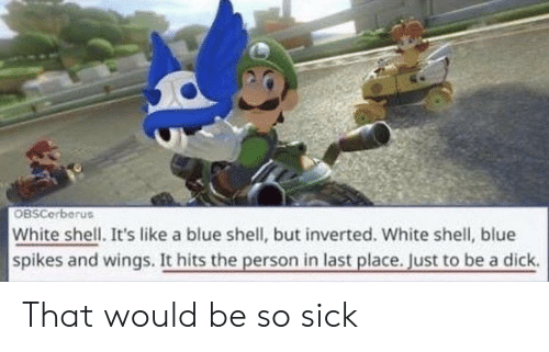 a dick: OBSCerberus  White shell. It's like a blue shell, but inverted. White shell, blue  spikes and wings. It hits the person in last place. Just to be a dick. That would be so sick
